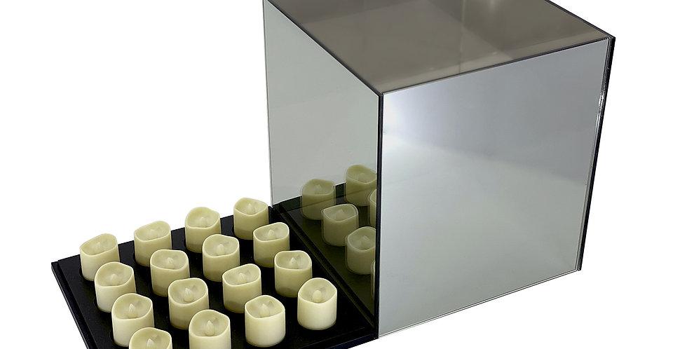Подсвечник БЕСКОНЕЧНОСТЬ 25х25х28 см, на 16 свечей, зеркало/дерево, серая дымка