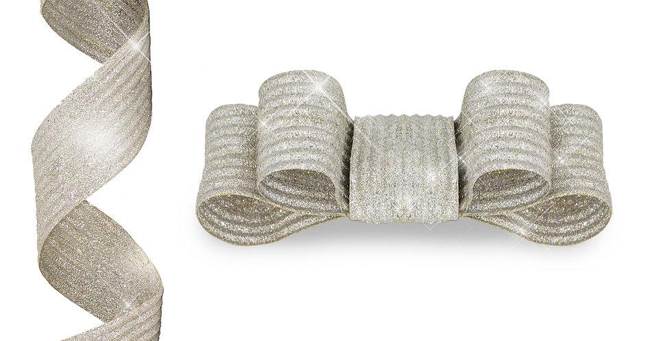 Лента с проволокой 180 см, серебряный