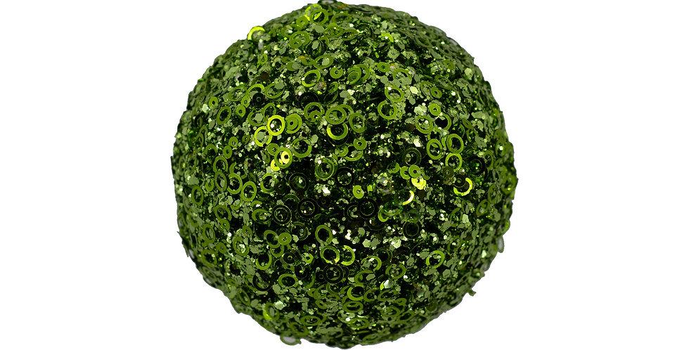 Шар D10 см, с пайетками, пенопласт, зелёный