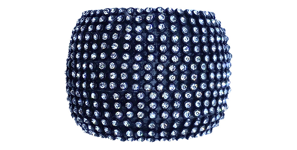 Кольцо для салфеток D5 см, с кристаллами, пластик, чёрный/серебряный