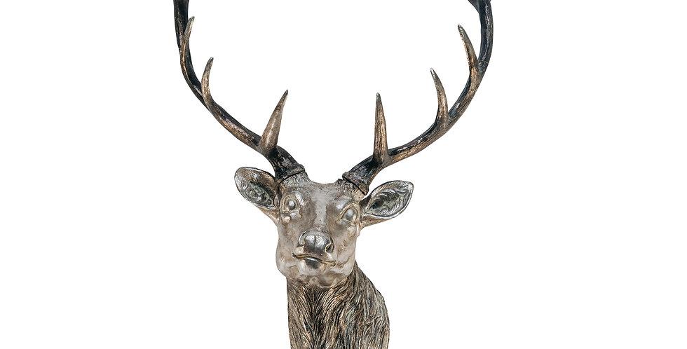 Фигура ГОЛОВА ОЛЕНЯ H90 см, полирезин, серебряный