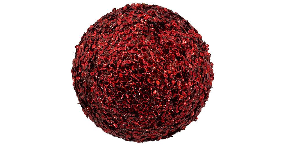 Шар D10 см, с пайетками, пенопласт, бордовый
