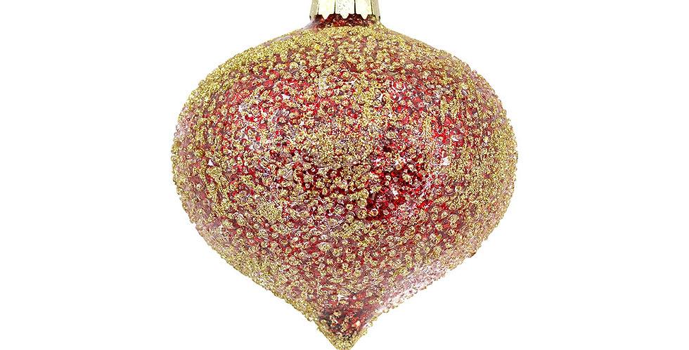 Шар ЛУКОВИЦА засахаренный D10 см, стекло, красный