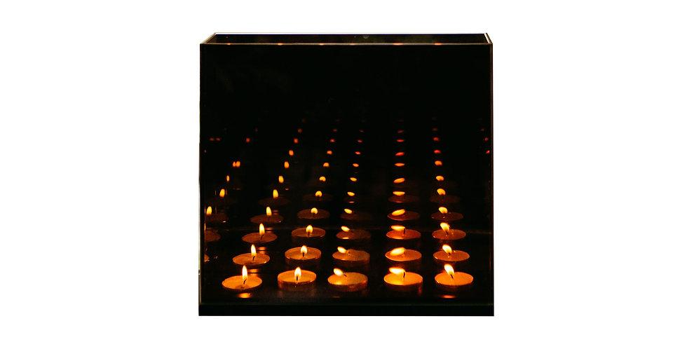 Подсвечник БЕСКОНЕЧНОСТЬ 28х8х25 см, на 5 свечей, зеркало/дерево, серая дымка