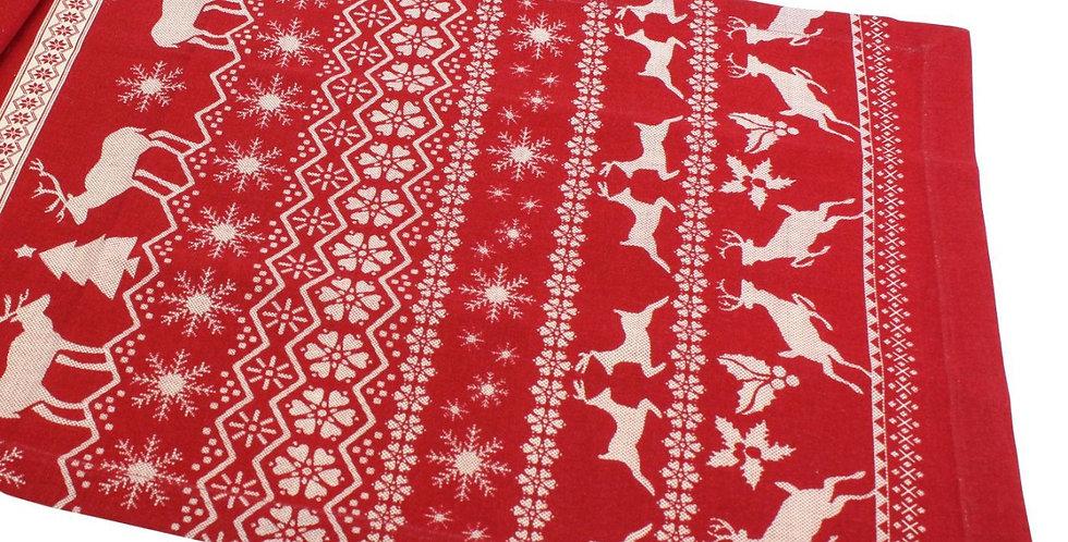 Дорожка на стол ОЛЕНИ 150х40 см, красный/белый