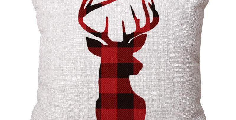 Подушка с авторским рисунком ОЛЕНЬ 45х45 см, красный