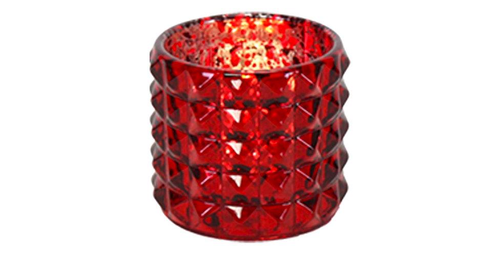 Подсвечник 7х6,5 см, стекло, красный