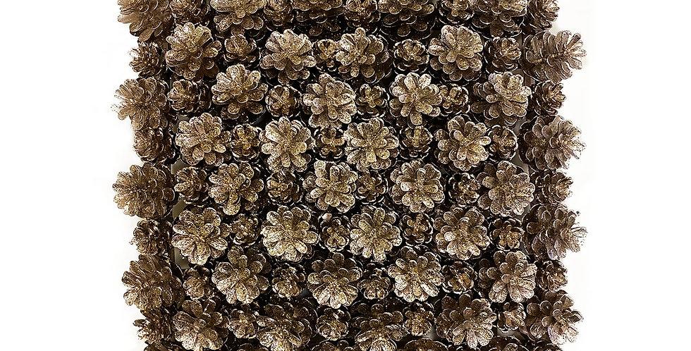 Панно из шишек 25х25 см, полирезин, розовое золото