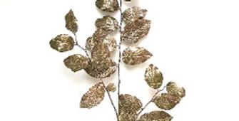 Ветвь гаультерии H112 см, пластик, зеленый с розовым золотом