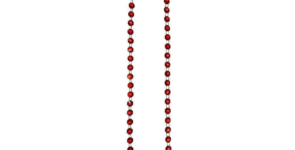 Цепочка, 100 см, хрусталь, красный