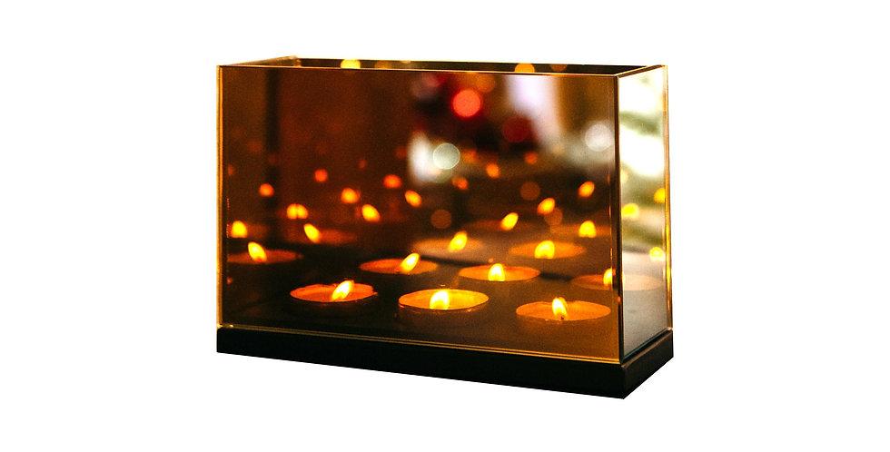 Подсвечник БЕСКОНЕЧНОСТЬ 11,5х8х18 см, на 3 свечи, зеркало/дерево, серая дымка