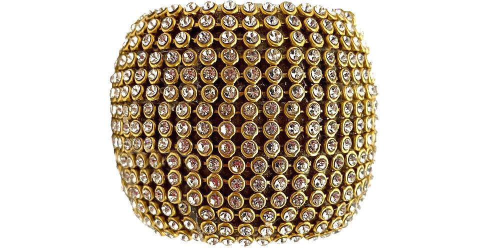 Кольцо для салфеток D5 см с кристаллами, пластик, золотой