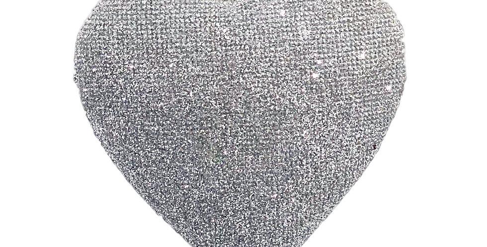 Подвес СЕРДЦЕ 7х8х2 см, с блёстками, стекло, серебряный