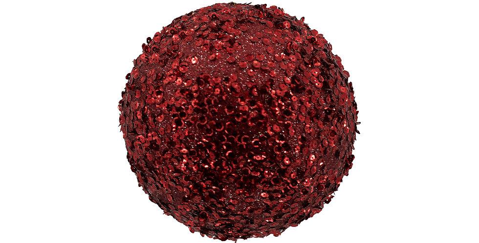 Шар D10 см, с пайетками, пенопласт, красный