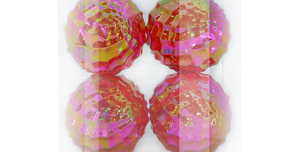 Шары D12 см в наборе, пластик, 4шт, красный/радужный