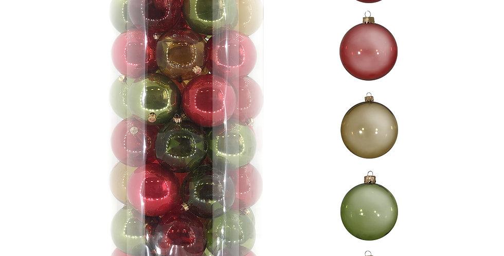 Шары D8 см в тубе, 55шт, пластик, зелёный/красный микс