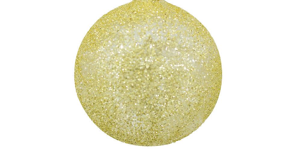 Шар D8 см, с пайетками, стекло, золотой