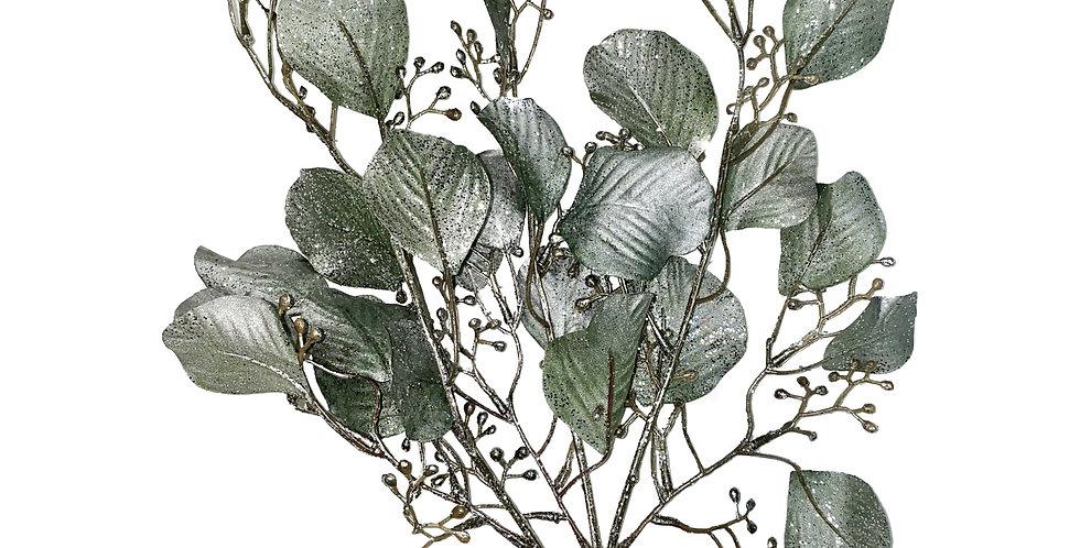 Ветвь эвкалипта H69 см, пластик, зеленый с серебром