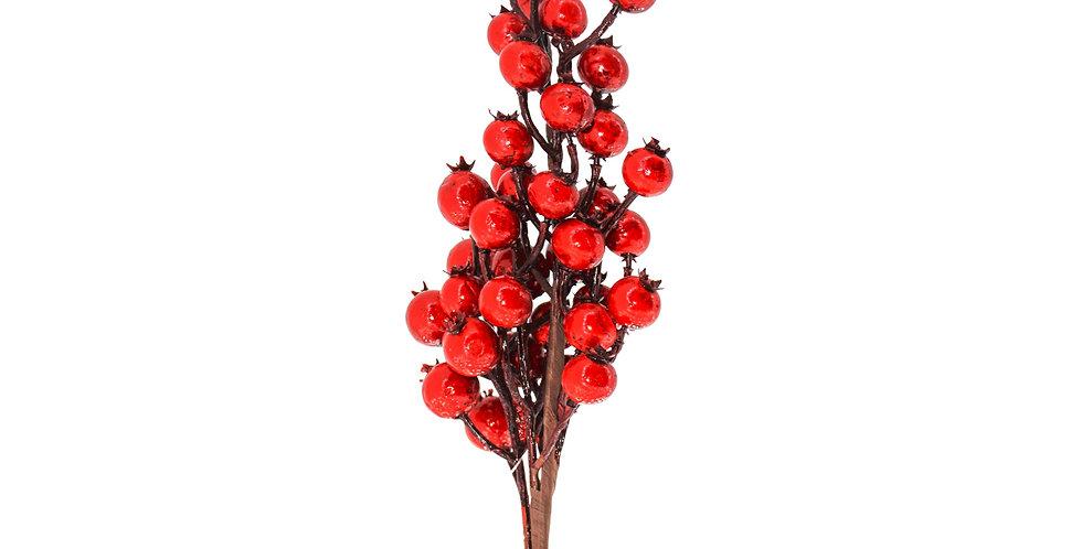 Ветка с ягодами H54 см, красный