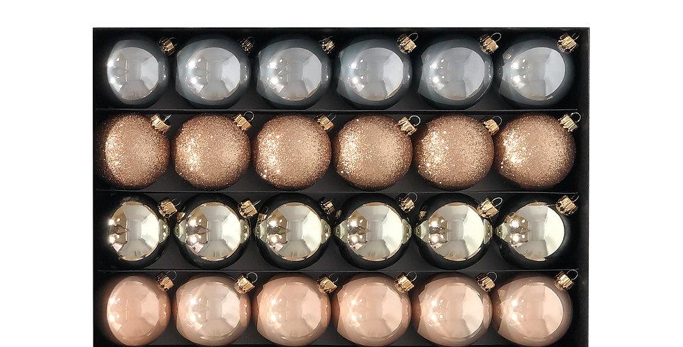 Шары D5 см в наборе, 30шт, пластик, розовый/бежевый/серый микс