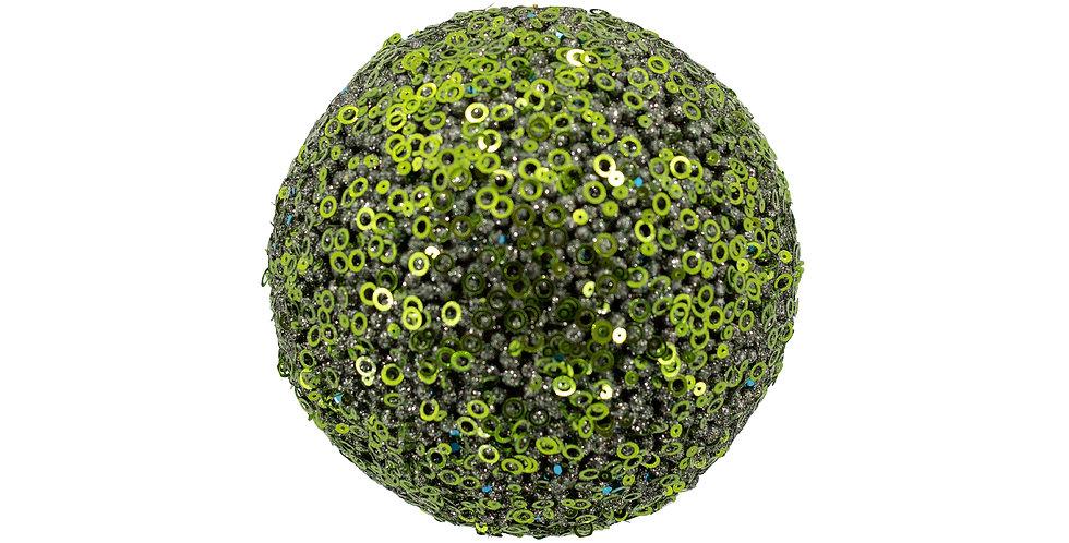 Шар D15 см, с пайетками, пенопласт, зелёный с бирюзой