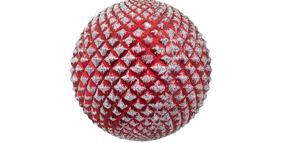 Шар D13 см, заснеженный , пластик, красный
