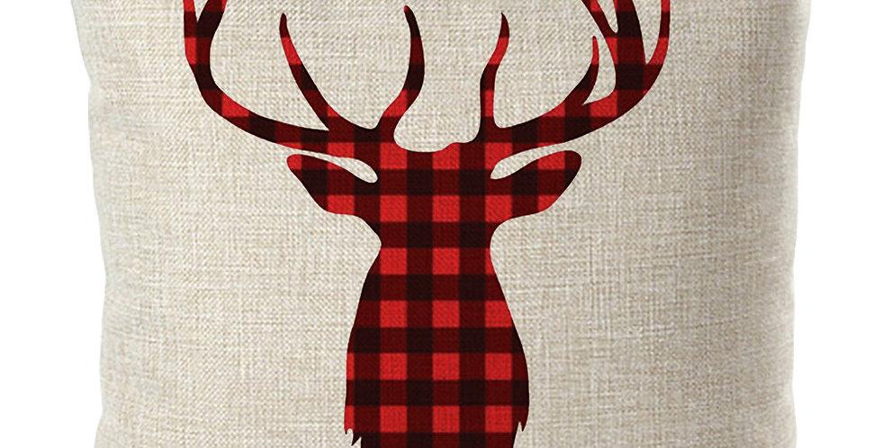 Подушка с авторским рисунком ОЛЕНЬ 45Х55 см, красный
