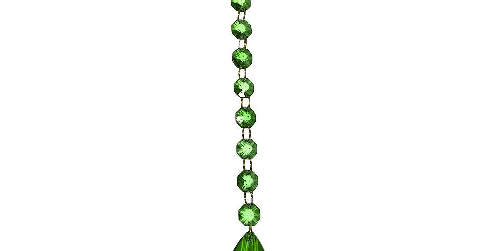 Цепочка, 20 см, хрусталь, зеленый