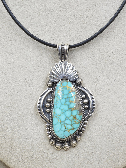 Natural Kingman Web Turquoise & Sterling Silver Pendant by Leonard Chee
