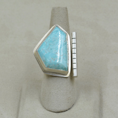 Natural Blue Moon Turquoise and Sterling Silver Trapezoid Ring by Joe Glover