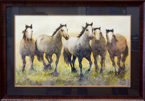 "'5 Horses' - Framed Watercolor - 25 1/2"" x 36 1/2"" - by John Saunders"