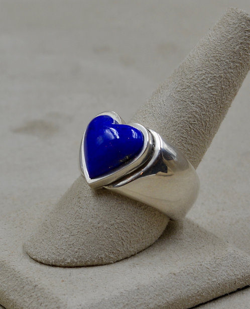 Lapis & Sterling Silver Heart 10x Ring by John Rippel