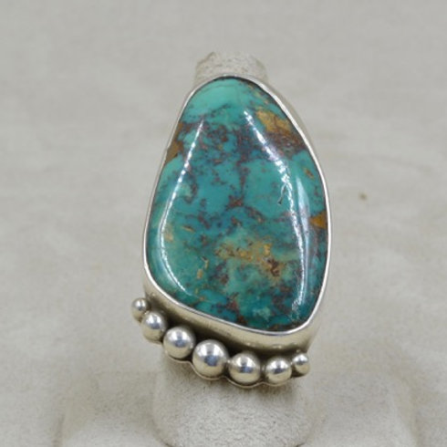 78 Cts. Natural Evans Turquoise 8X Ring by Jerry Faires