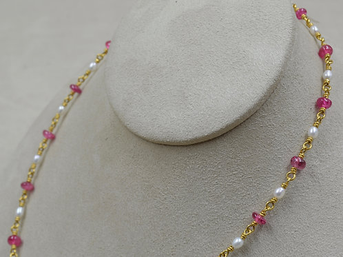 22k Gold, Pink Spinel Beads & Pearl Necklace by Pamela Farland