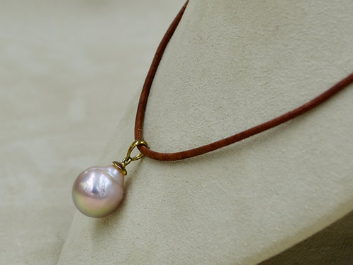 Pink Cultured Freshwater Pearl & 18k Gold on Leather by US Pearl