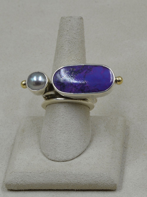 Grey Pearl, 10k Gold Shot, Purple Turquoise 8x Ring by Melanie DeLuca