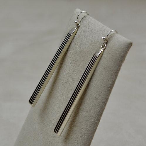 Extra Long Oxidized Sterling Silver 4 Row Drop Earrings by Frances Jones