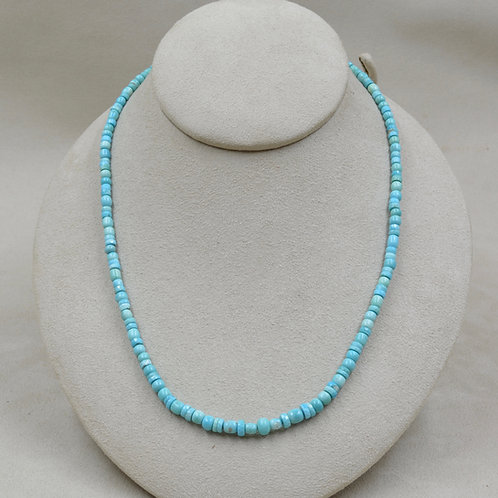 1 String Faceted Natural Sleeping Beauty Turquoise Necklace by Maggie Moser