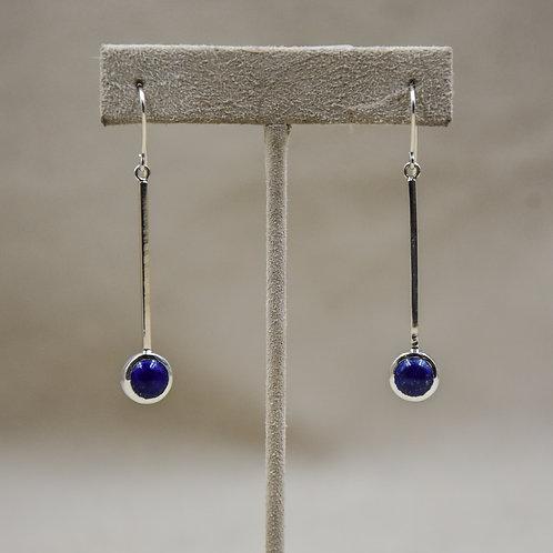 Sterling Silver Long 8mm Lapis Wire Earrings by John Paul Rangel