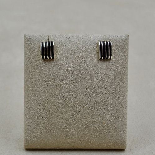 Oxidized Sterling Silver 5 Row Post Earrings by Frances Jones