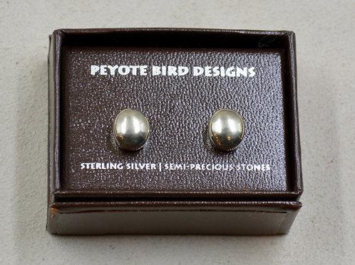 Medium Oval Hematite Post Earrings by Peyote Bird Designs