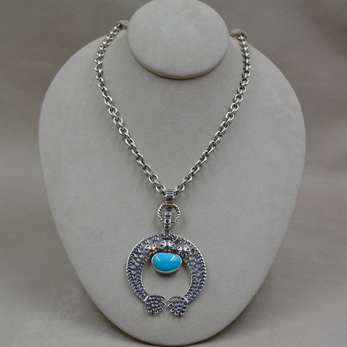 Sterling Silver Necklace w/ Turquoise Naja by Melanie DeLuca