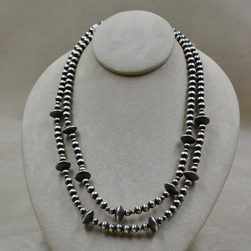 """Navajo Pearls Oxidized 2 Strands S. Silver Beads and Saucers 21-22 1/2"""" Necklace"""