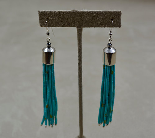 "Turquoise & Sterling Silver 15 Strand 3.5"" Earrings"