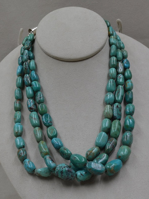 3 Strand Smooth Nugget Nevada Blue Turquoise Necklace by Kenneth Aguilar