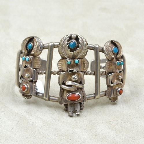 Vintage 60's Sterling Silver Three Yei Turquoise & Coral Cuff