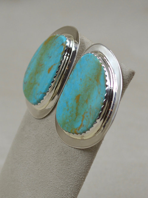 Large Nevada Blue Turquoise w/ SS Flange Bezel Posts Earrings by Ca'Win