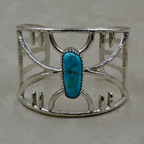 S. Silver Tufa Open Design Cuff w/ Natural Kingman Turquoise by Erik Fende