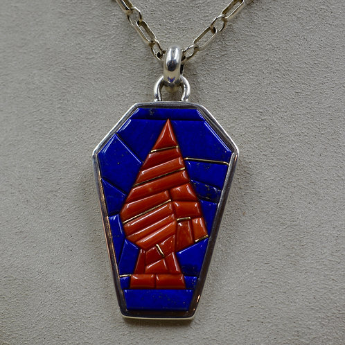 18k Gold Tufa Cast Arrow, Lapis, Coral, Pendant by Sean Benally
