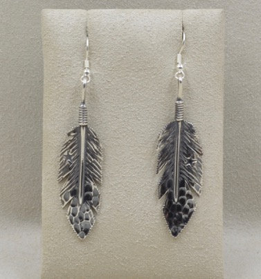 Sterling Silver Medium Eagle Feather Earrings by Richard Lindsay
